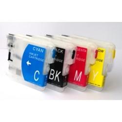 Kompatibilní plnitelné cartridge Brother LC 1240 + 4x100 ml inkoustu